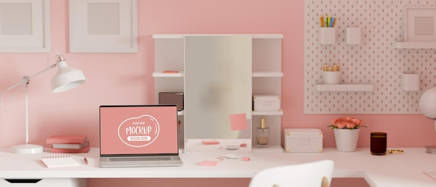 Pink feminine dressing table interior design with laptop supplies and decorations