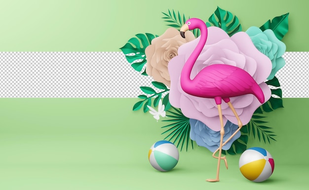 Pink flamingo and beach ball with flower, summer season, summer template 3d rendering