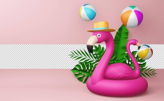 Pink flamingo and beach ball with leaves, summer season, summer template 3d rendering