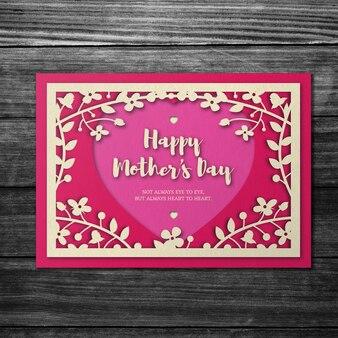 핑크 꽃 어머니의 날 카드 이랑