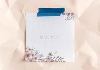 Pink floral paper note mockup