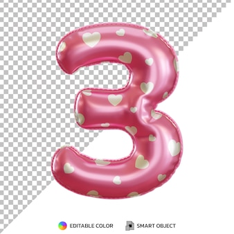 Pink foil balloon of 3 number 3d isolated Premium Psd