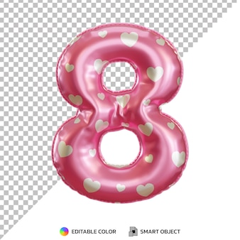 Pink foil balloon of 8 number 3d isolated