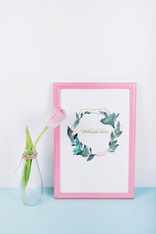 Pink frame mockup with decorative tulip