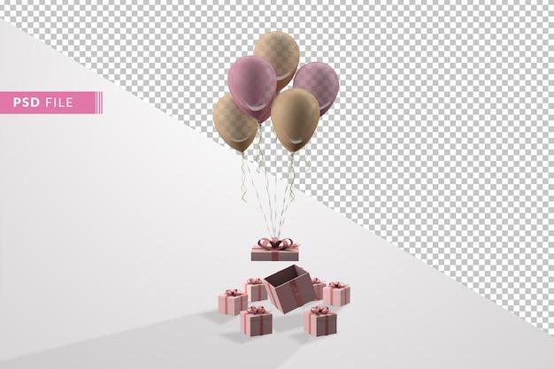Розовая подарочная коробка и воздушный шар, плавающий минимальный изолированный 3d-рендеринг