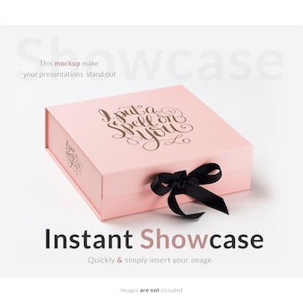Pink gift box mock up