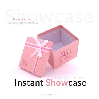 Pink gift box mock up