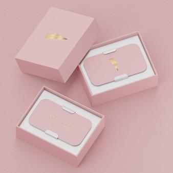 Pink gold business card mockup for brand identity 3d render