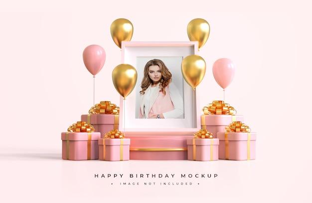 Pink and gold happy birthday mockup