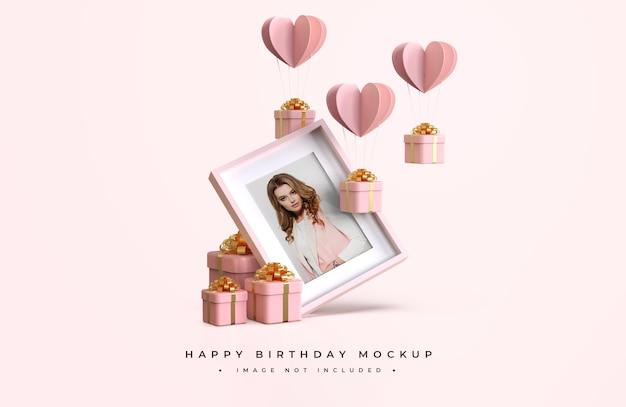 Mockup di buon compleanno rosa e oro
