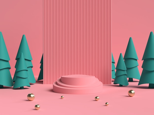 Pink and green 3d rendering of abstract scene geometry shape podium for product display