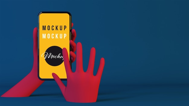 Pink hands using smartphone mockup
