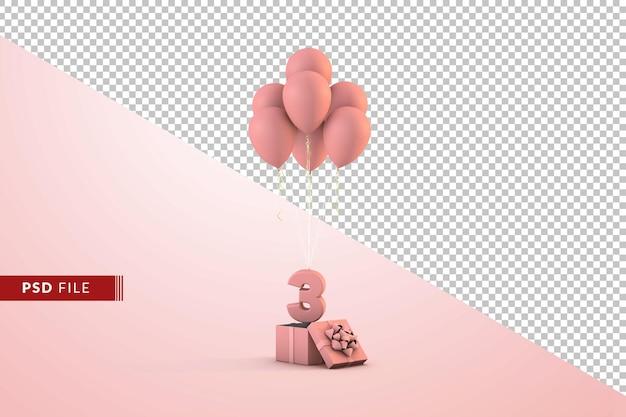 Розовое украшение с днем рождения номер 3 с подарочной коробкой и изолированными воздушными шарами Premium Psd