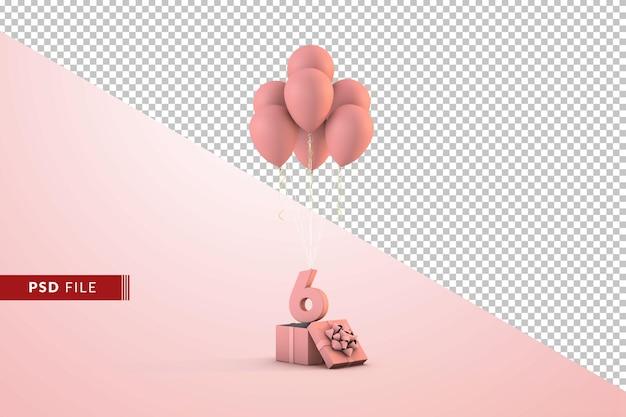 ピンクのお誕生日おめでとう装飾番号6ギフトボックスと風船が分離されました