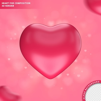 Pink heart for composition 3d render