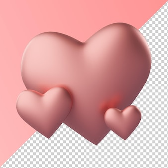 Pink heart love shape isolated transparent 3d rendering