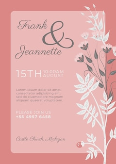 Pink invitation with white ornamental flowers template