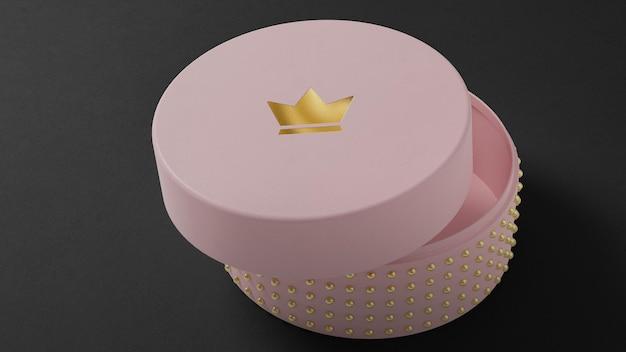 Макет логотипа розовой шкатулки для брендинга на черном фоне 3d визуализации