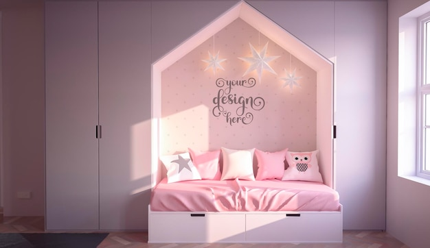 ピンクの子供の寝室のインテリアデザインの壁のモックアップ3dレンダリング