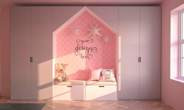 Pink kids bedroom interior design wall mockup 3d rendering