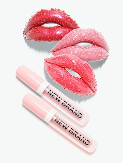 Pink lip gloss with red lips. 3d illustration