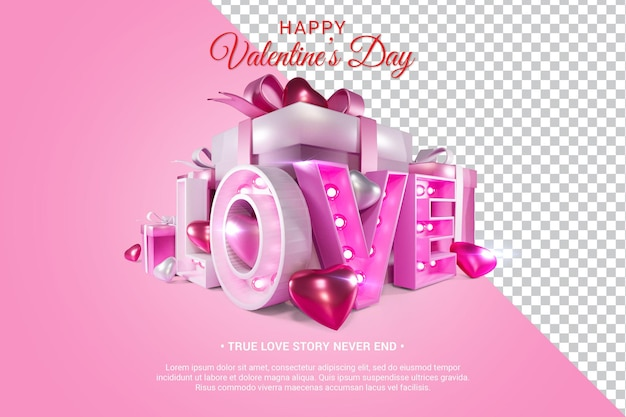 Pink love text with hearts 3d render isolated