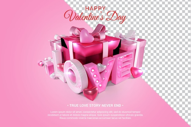 Pink love text with hearts and gifts 3d render isolated