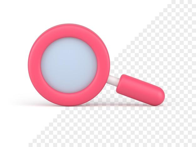 Розовый значок увеличительного стекла 3d визуализации. инструмент поиска и масштабирования. оптическое исследование с научным исследованием. бизнес-аналитика с подробным анализом скачков коммерческих фондового рынка.