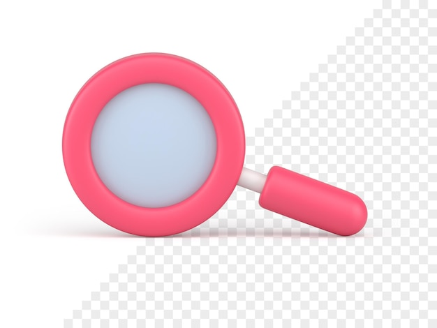 Pink magnifying glass icon 3d render. search and scaling tool. optical study with scientific research. business analytics with detailed analysis commercial stock market surges.