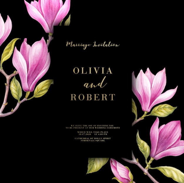 結婚式の招待カードのピンクのマグノリアの花