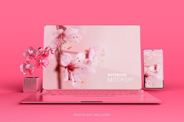 ピンクのメタリックmacbookproラップトップとスマートフォンのモックアップシーンクリエーター