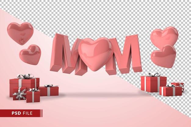 3d 렌더링에서 어머니의 날 개념 핑크 엄마 텍스트