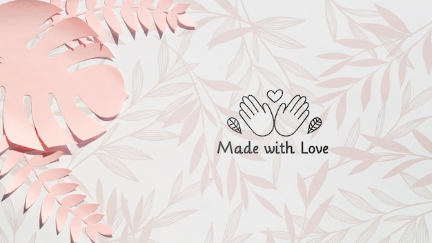 Pink monstera plant made with love background