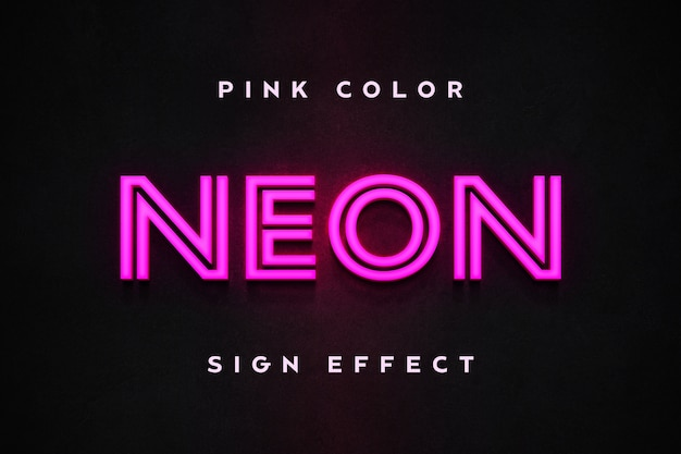 Pink neon sign effect text template