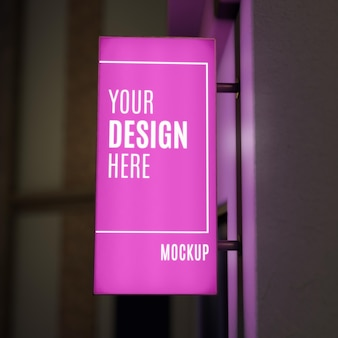 Pink night business sign mock-up