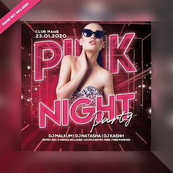 Pink night party flyer