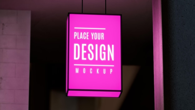 Pink nighttime business sign mock-up