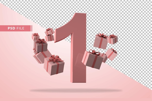 Pink number 1 a birthday concept with gift boxes in 3d render