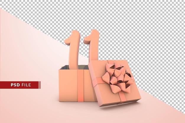 Розовый номер 11 для с днем рождения с розовой подарочной коробкой 3d изолированные