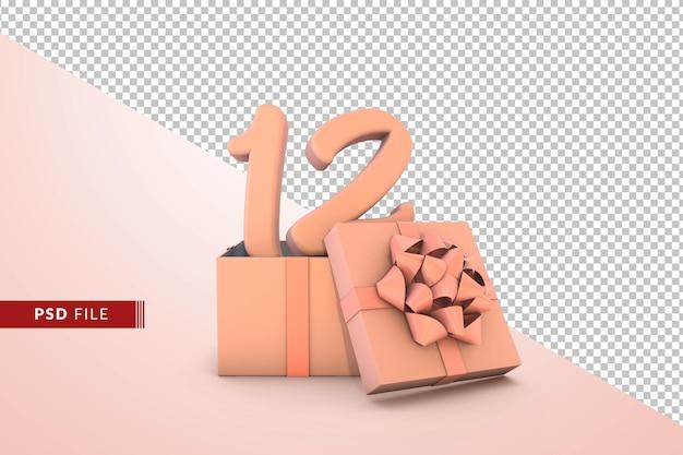 Розовый номер 12 для с днем рождения с розовой подарочной коробке 3d изолированные