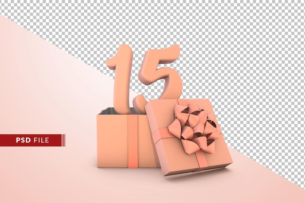 Pink number 15 for happy birthday with pink gift box 3d isolated