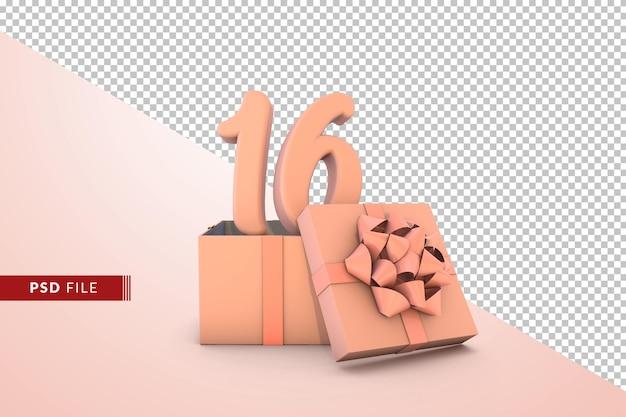 Розовый номер 16 для с днем рождения с розовой подарочной коробкой 3d изолированные