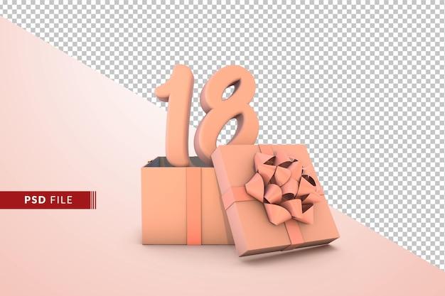 Розовый номер 18 для с днем рождения с розовой подарочной коробкой 3d изолированные