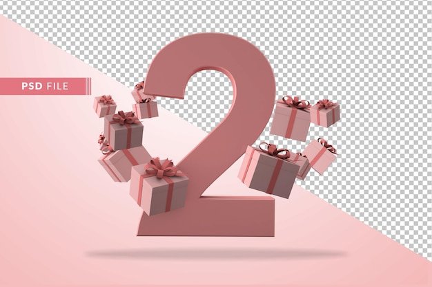 Pink number 2 a birthday concept with gift boxes in 3d render