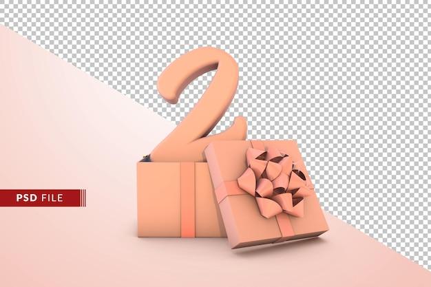 Розовый номер 2 для с днем рождения с розовой подарочной коробкой 3d изолированные