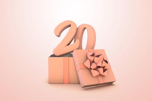 Розовый номер 20 для с днем рождения с розовой подарочной коробкой 3d изолированные