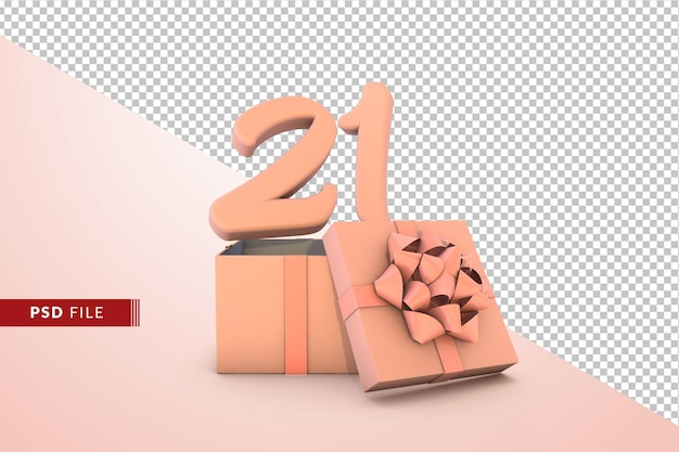 Pink number 21 for happy birthday with pink gift box 3d isolated