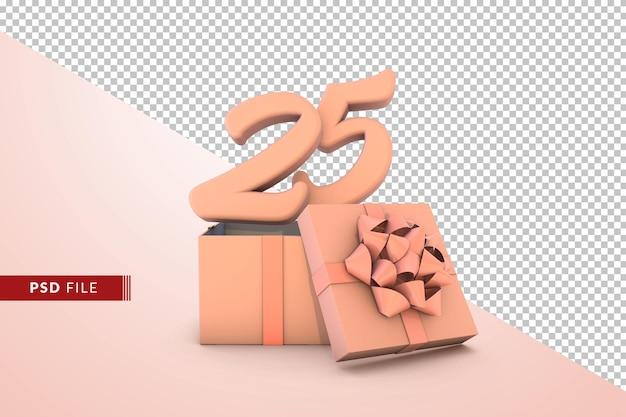 Розовый номер 25 для с днем рождения с розовой подарочной коробкой 3d изолированные