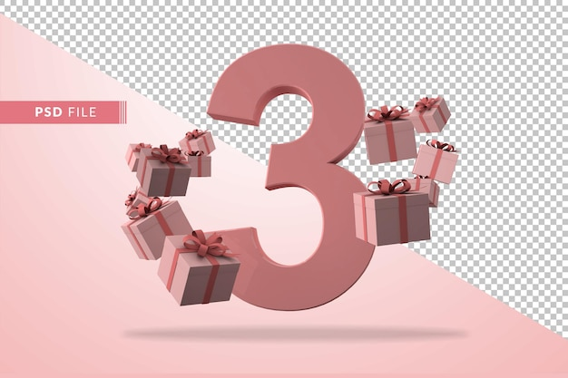 Pink number 3 a birthday concept with gift boxes in 3d render