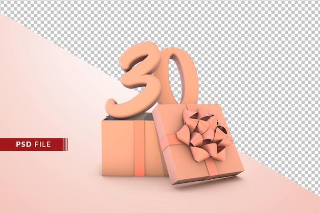 Розовый номер 30 с днем рождения с розовой подарочной коробкой 3d изолированные